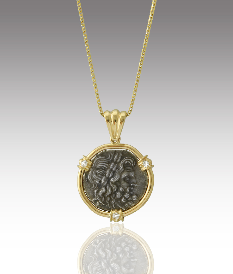 Greek coin pendant dbs fine jewelers greek coin pendant mozeypictures Choice Image